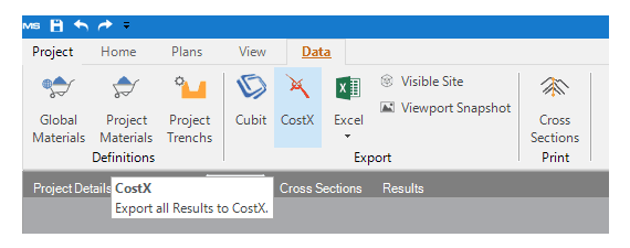 The new Data tab with CostX export